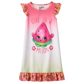 """Girls 4-12 Shopkins Melonie Pips """"One in a Melon"""" Scented Ruffle Dorm Nightgown"""