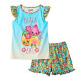 "Girls 4-12 Shopkins Melonie Pips, Heidi Hibiscus & Pineapple Crush ""Beach Life"" Scented Pajama Set"