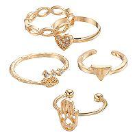 Mudd® Heart, Hamsa, Triangle & Leaf Toe Ring Set