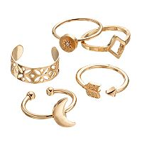Mudd® Crescent, Sunburst, Arrow & Triangle Toe Ring Set