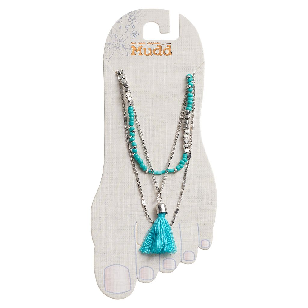 Mudd® Blue Beaded Tassel Charm Multi Strand Anklet