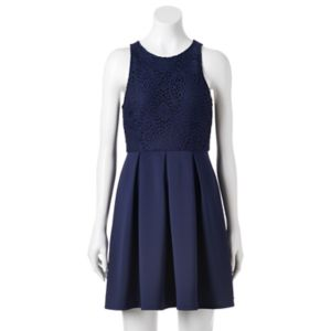 Juniors' Speechless Lace Scuba Skater Dress