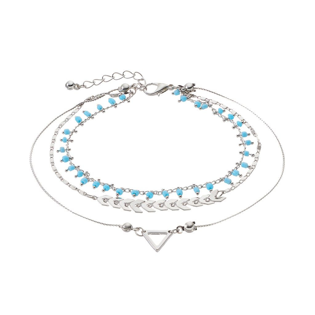Mudd® Blue Shaky Bead & Arrow Multi Strand Anklet