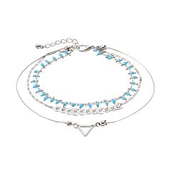 Mudd® Blue Shaky Bead & Arrow Multi Strand Anklet