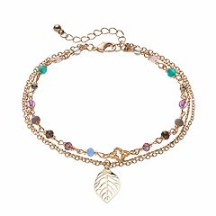Mudd® Beaded Leaf Charm Multi Strand Anklet