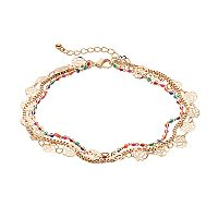 Mudd® Beaded Flower Multi Strand Anklet