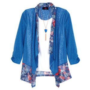 Girls 7-16 IZ Amy Byer 3/4-Length Sleeve Floral Printed Cozy Top with Necklace