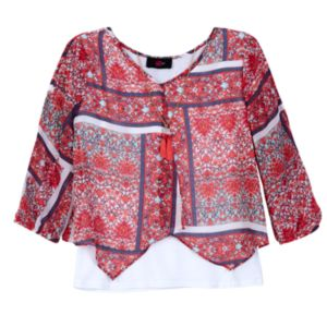Girls 7-16 IZ Amy Byer 3/4-Length Sleeve Flyaway Fashion Top with Necklace