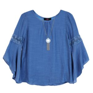 Girls 7-16 IZ Amy Byer Woven 3/4-Length Sleeve Peasant Top with Necklace
