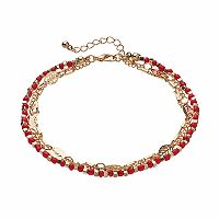 Mudd® Red Bead & Leaf Link Multi Strand Anklet