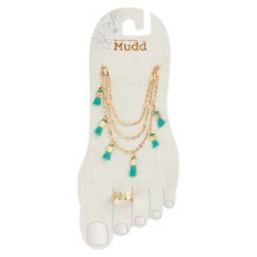 Mudd® Aqua Tassel Multi Strand Anklet & Toe Ring Set
