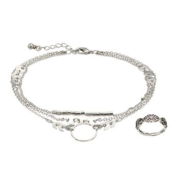 Mudd® Arrow Multi Strand Anklet & Antiqued Toe Ring Set