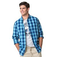 Men's Chaps Classic-Fit Plaid Poplin Stretch Button-Down Shirt