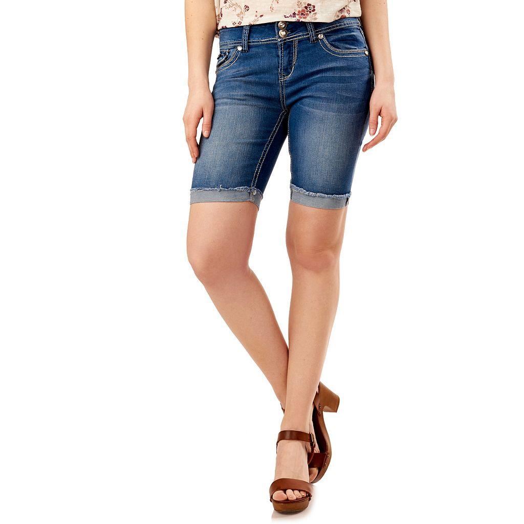 Juniors' Wallflower Faded Cutoff Bermuda Jean Shorts