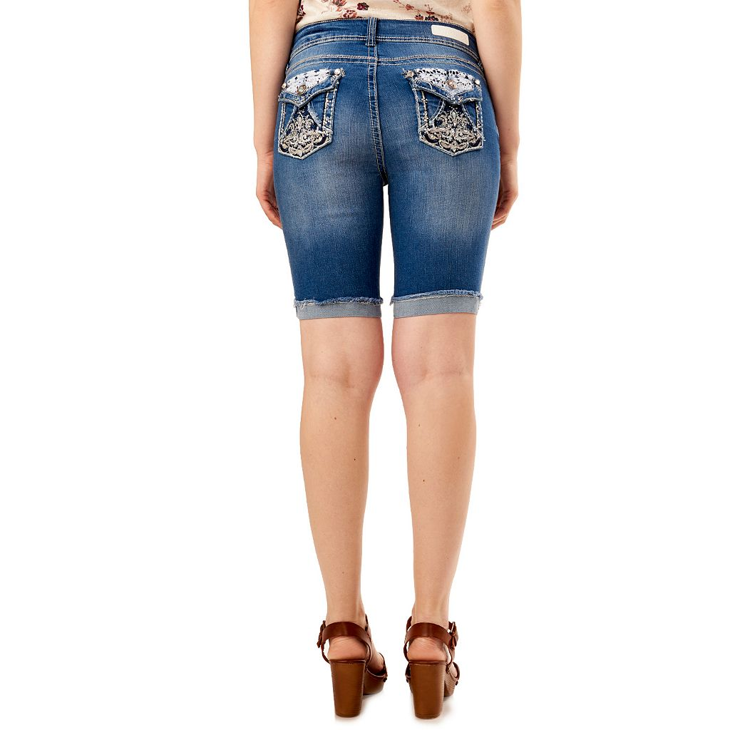 Juniors' Wallflower Faded Cutoff Bermuda Jean Shorts