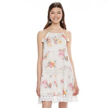Juniors' Mudd® Floral Crochet Tiered Dress