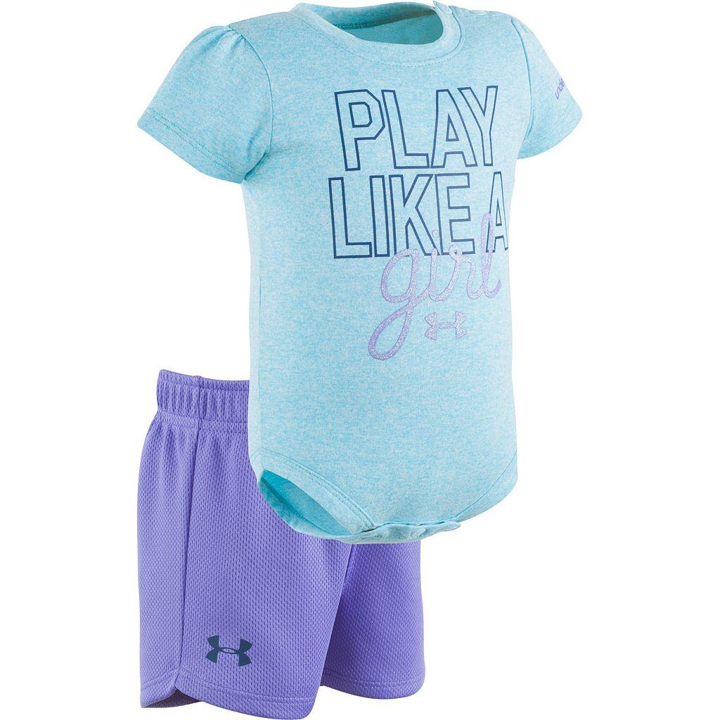 Baby Girl Under Armour Graphic Moisture-Wicking Bodysuit & Mesh Shorts Set