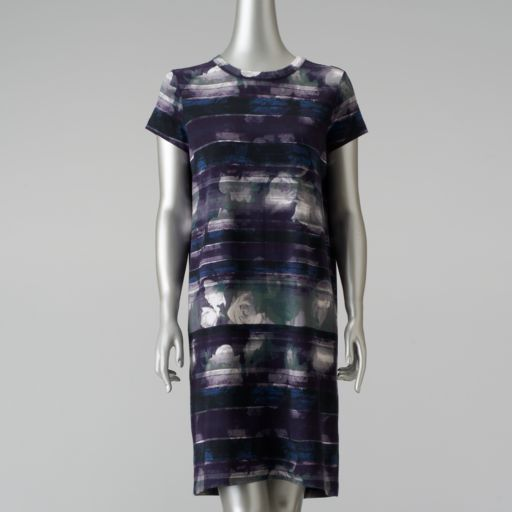 Petite Simply Vera Vera Wang Mixed-Media T-Shirt Dress
