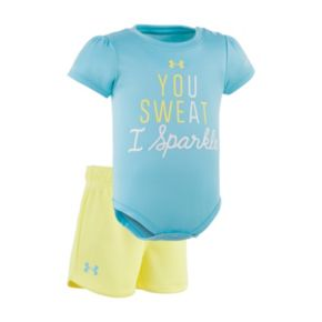 """Baby Girl Under Armour """"You Sweat I Sparkle"""" Graphic Bodysuit & Mesh Shorts Set"""