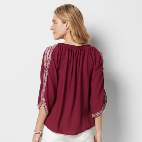 Women's SONOMA Goods for Life? Embroidered Cold-Shoulder Peasant Top