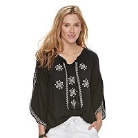 Women's SONOMA Goods for Life™ Embroidered Cold-Shoulder Peasant Top