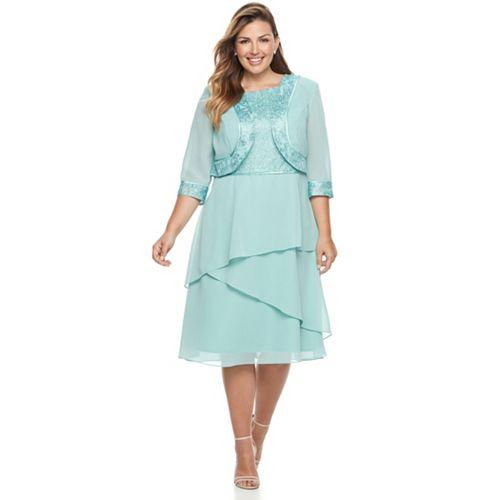 Plus Size Le Bos Glitter Dress & Jacket Set