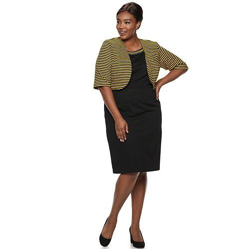 Plus Size Maya Brooke Jacquard Dress & Striped Jacket Set