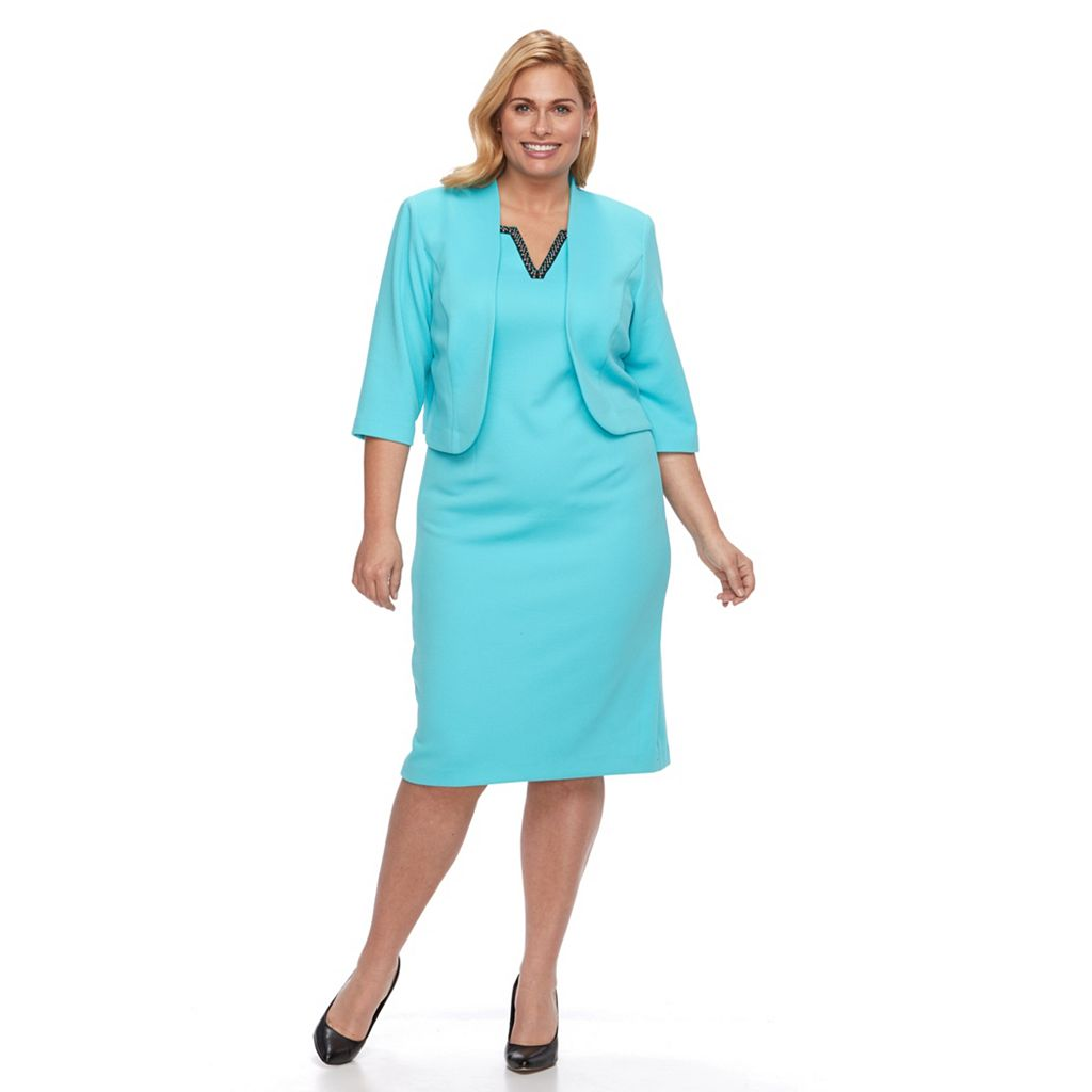 Plus Size Maya Brooke Jacquard Dress & Jacket Set