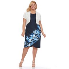 Plus Size Maya Brooke Floral Dress & Solid Jacket Set