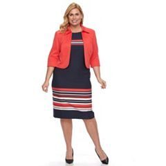 Plus Size Maya Brooke Striped Dress & Solid Jacket Set