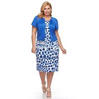 Plus Size Maya Brooke Tiered Dot Sheath Dress & Solid Jacket Set