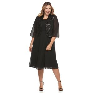 Plus Size Le Bos Sequin Trim Dress & Jacket Set
