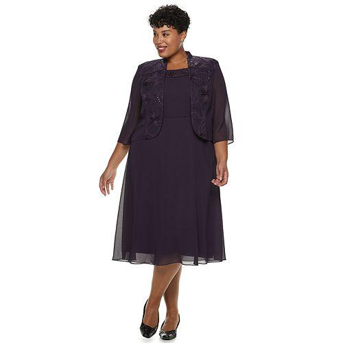 Plus Size Le Bos Sequin Trim Dress & Jacket Set
