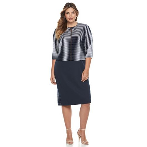 fe8ce379d16 Plus Size Maya Brooke Colorblock Sheath Dress   Striped Jacket Set