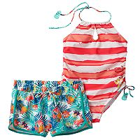 Girls 4-6x Big Chill Striped One-Piece Swimsuit & Tropical Shorts Set