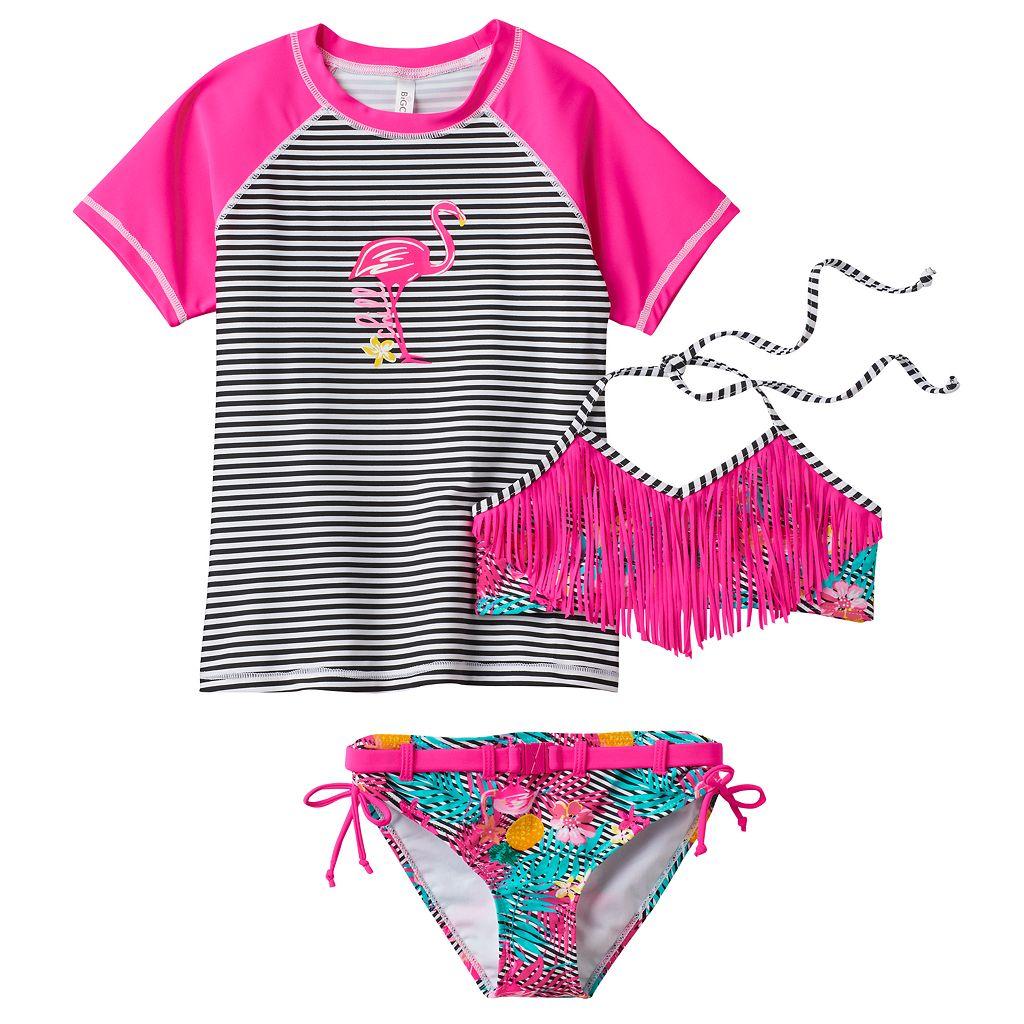 Girls 7-16 Big Chill Rashguard, Fringe Bikini & Scoop Bottoms Swimsuit Set