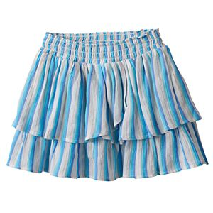 Girls 4-12 SONOMA Goods for Life™ Striped Smocked Waist Tiered Skort