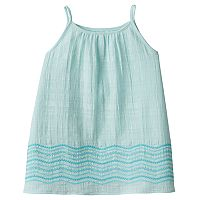 Girls 4-12 SONOMA Goods for Life™ Embroidered Border Textured Woven Tank Top