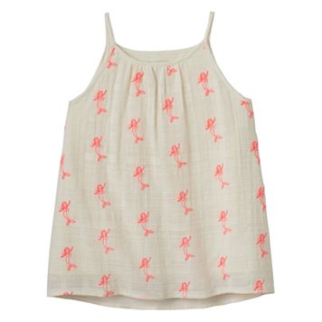 Girls 4-12 SONOMA Goods for Life™ Mermaid Embroidered Strappy Woven Tank Top