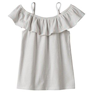 Girls 4-12 SONOMA Goods for Life™ Metallic Thread Striped Off Shoulder Top