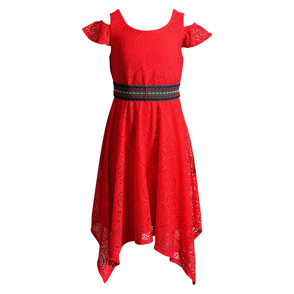 Girls 7-16 Emily West Crochet Lace Cold Shoulder Handkerchief Hem Belted Dress
