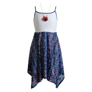 Girls 7-16 Emily West Printed Skirt Handkerchief Hem Dress with Tassel Necklace