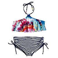 Girls 7-16 Big Chill Palm Tree Bikini Top & Boyshort Swimsuit Set