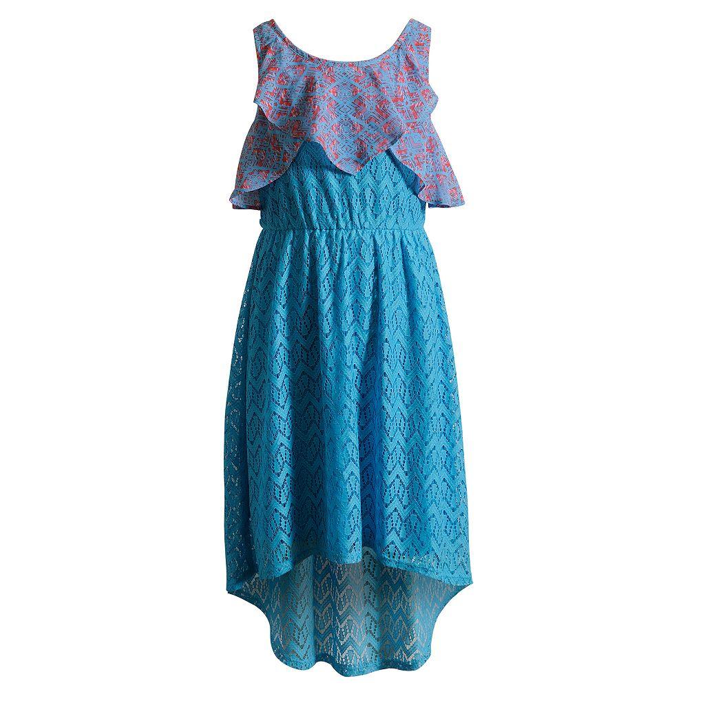 Girls 7-16 Emily West Chiffon Overlay Crochet Dress