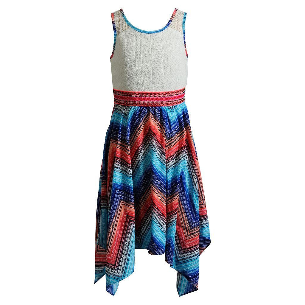 Girls 7-16 Emily West Woven Printed Skirt Handkerchief Hem Dress