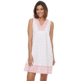 Women's Croft & Barrow® Pajamas: Good Morning Border Print Sleep Shirt