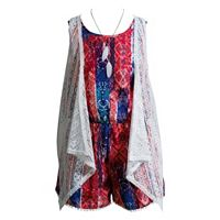 Girls 7-16 Mackenzie x Emily West Crochet Lace Vest & Pom-Pom Trim Romper Set with Feather Necklace