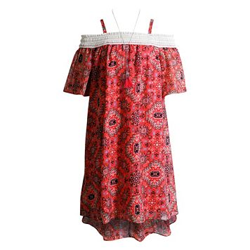 Girls 7-16 Mackenzie x Emily West Peach Cold Shoulder High-Low Tribal Print Chiffon Dress with Necklace