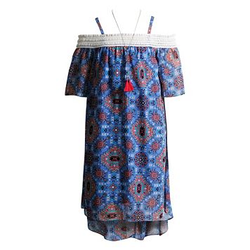 Girls 7-16 Mackenzie x Emily West Blue Cold Shoulder High-Low Tribal Print Chiffon Dress with Necklace