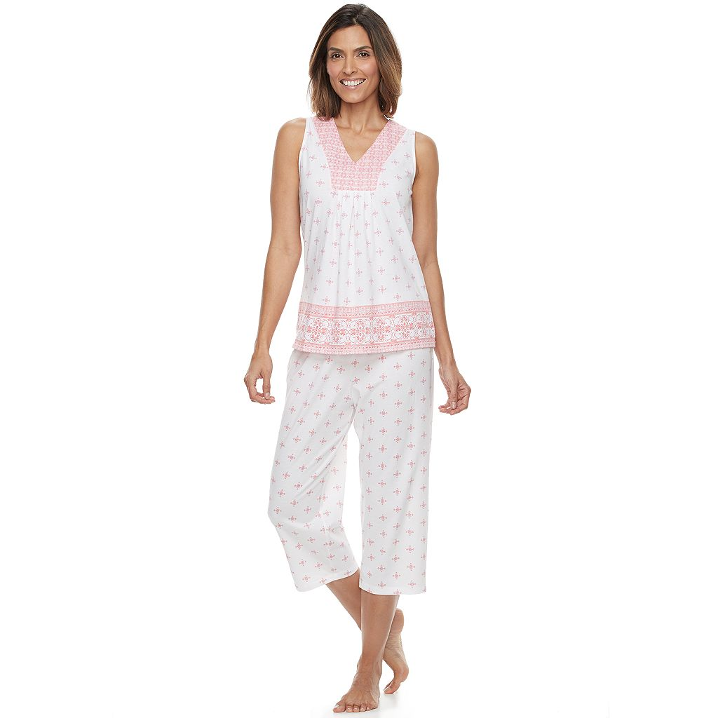 Women's Croft & Barrow® Pajamas: Good Morning Border Print Tank & Capris PJ Set
